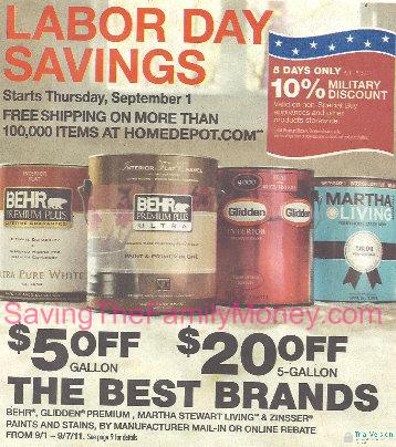 Home Depot Labor Day Coupon