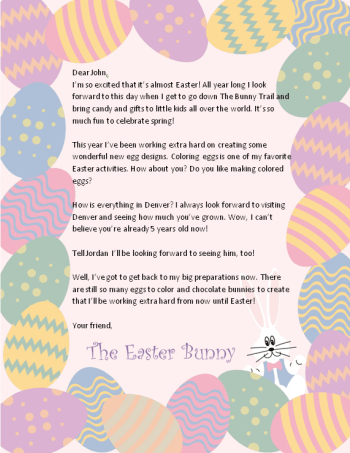 Free Letter From The Easter Bunny - Saving The Family Money