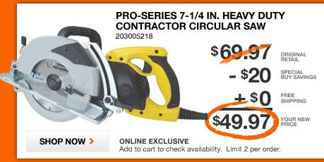 Home Depot Contractor Circular Saw Deal Of Day 5 Off