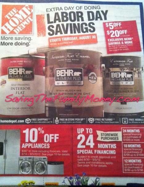 Home Depot Labor Day Weekend Sale 2012 Starts August 30