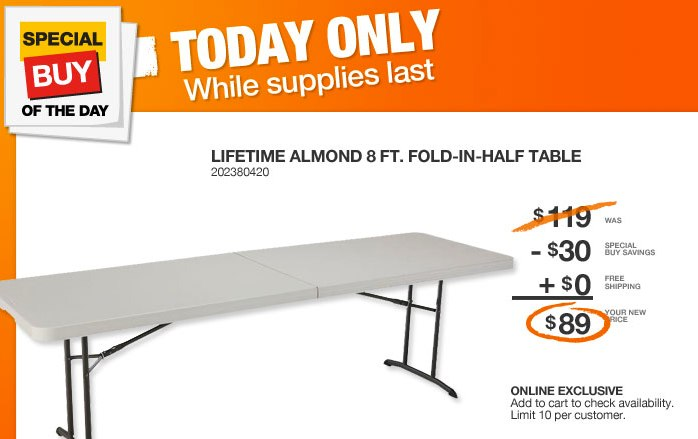 Home Depot Deal of the Day ~ 8 Foot Fold in Half Table ~ $89 Shipped ...