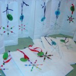 Christmas Art Crafts For Kids:  Beaded Snowflake Gift Bags
