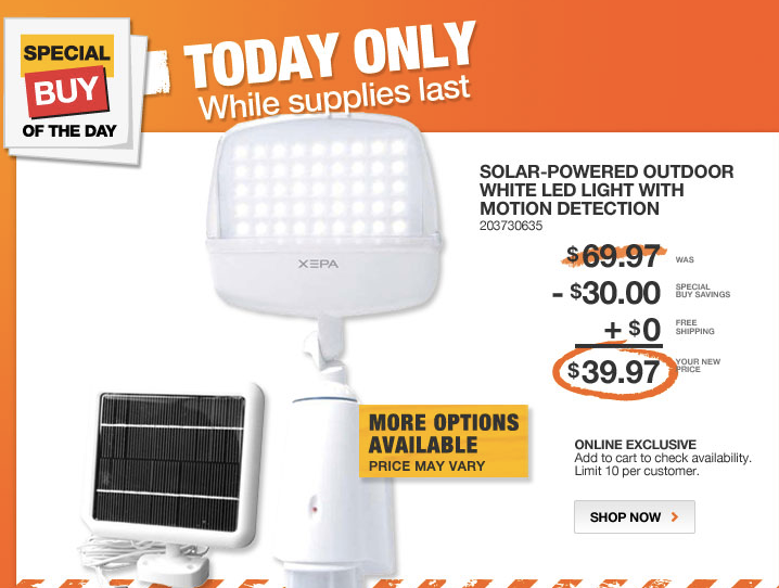 Special Buy of the Day at The Home Depot - Home Depot Daily Deal ~ Outdoor Solar Powered LED Lights - Saving