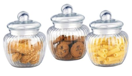 Amazon.com_ 3 Piece Retro Air-tight Ribbed Glass Mini Cookie Jars_ Kitchen & Dining