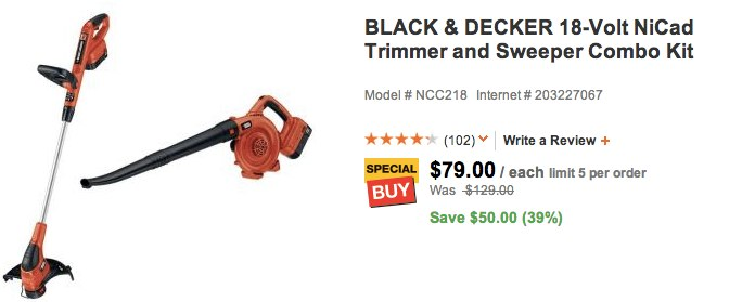 BLACK & DECKER 18-Volt NiCad Trimmer and Sweeper Combo Kit-NCC218 at The Home Depot