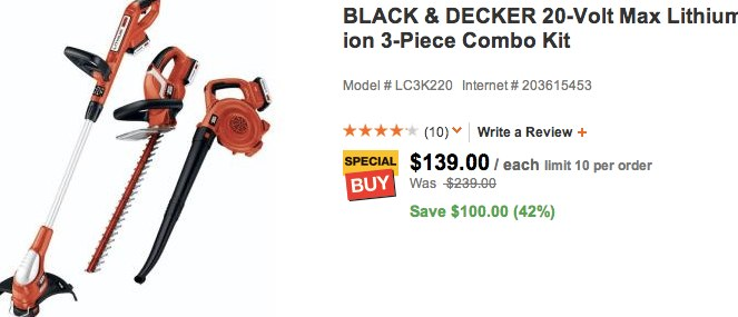 BLACK & DECKER 20-Volt Max Lithium-ion 3-Piece Combo Kit-LC3K220 at The Home Depot