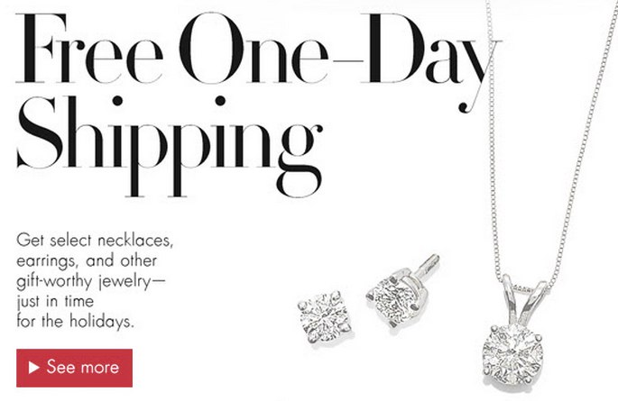 Free One-Day Shipping on Jewelry Gifts