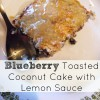 Blueberry Toasted Coconut Cake with lemon Sauce