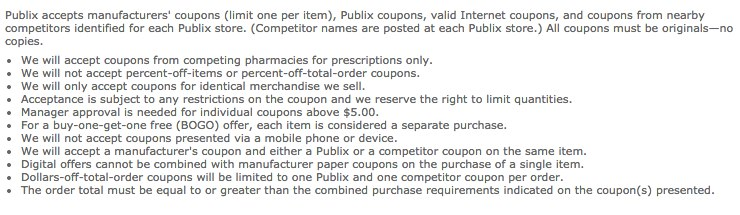Publix Coupon PolicyOld Pre Oct12014