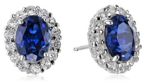 Amazon.com_ Sterling Silver Blue and White Created Sapphire Oval Earrings_ Stud Earrings_ Clothing